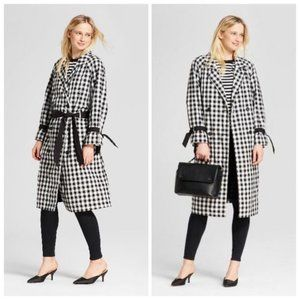 Who What Wear ~ Black Gingham Trench Coat ~ Size S